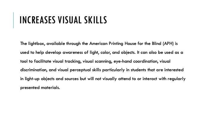 Increases Visual Skills