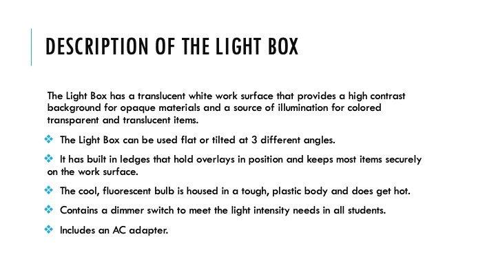 Description of the Light Box