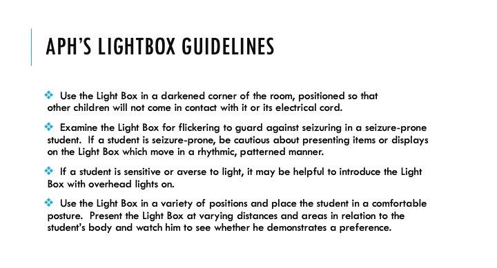 APH's Lightbox Guidelines