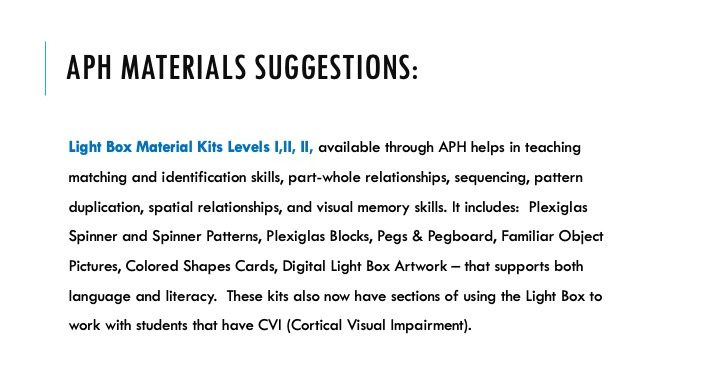 APH Materials suggestions: